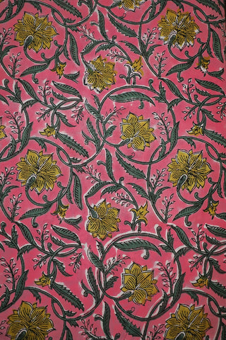 Pink with Yellow Floral Sanganeri Cotton Fabric