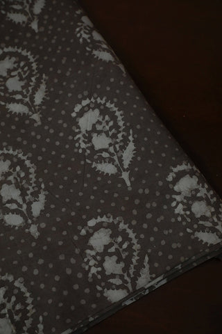 Grey with White Dabu Print Cotton Fabric
