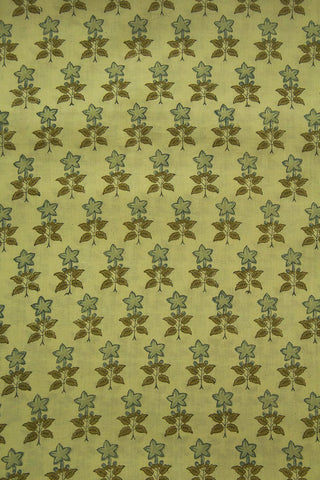 Grey with Brown Small Flower Sanganeri Cotton Fabric