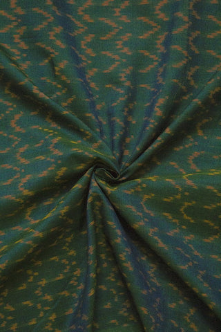 Double Shaded Green Handwoven Ikat Mercerized Cotton Fabric - 1.7m