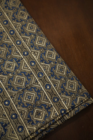 Grey with Indigo Ajrak Cotton Fabric