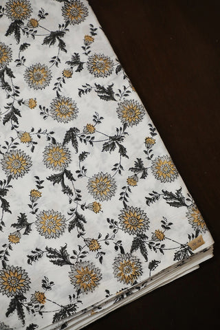 Daisy Grey Floral in White Sanganeri Cotton Fabric