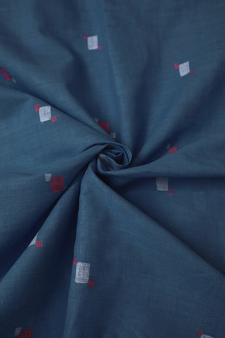 Subdued Blue with Red Bengal Jamdani Cotton Fabric