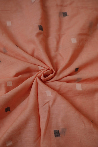 Peach with Grey Bengal Jamdani Cotton Fabric