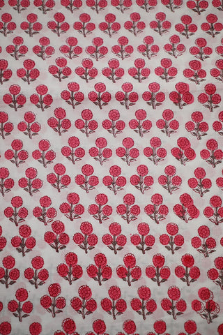 Pink Flower Block Printed Sanganeri Cotton Fabric