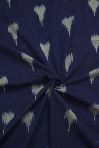 Ink Blue with Off White Ikat Cotton Fabric