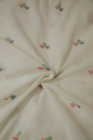 Three Triangles Textured Bengal Jamdani Cotton Fabric