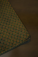 Dark Green with Black and Maroon Block Printed Ajrak fabric
