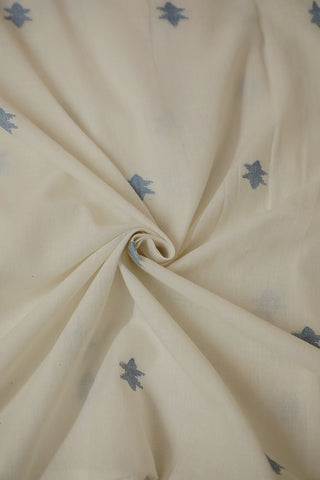 Blue stars in Cream Bengal Jamdani Cotton Fabric
