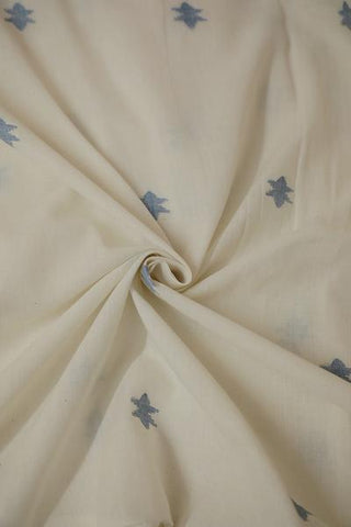 Off White with Blue star design Bengal Jamdani Cotton Fabric