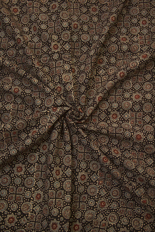 Stars & Circles in Black Block Printed Ajrak fabric