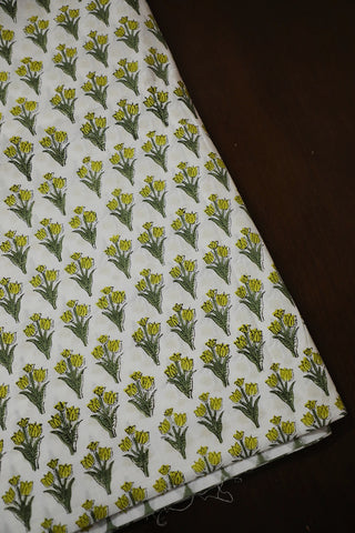 Yellowish Green Floral Sanganeri Cotton Fabric