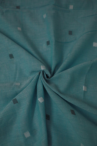 Light Blue Square Butta Bengal Jamdani Cotton Fabric