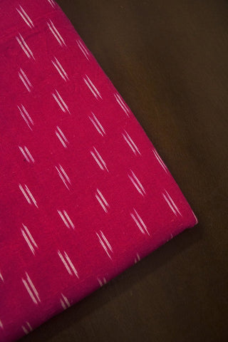 Pink with Off White Dashes Ikat Cotton Fabric