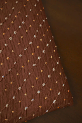 Light Orange and White Dots in Brown Bandhani Cotton Fabric