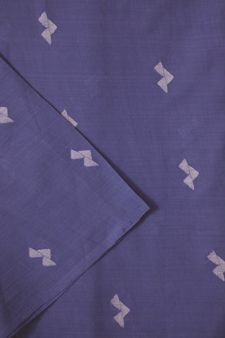 Blue with White Bengal Jamdani Cotton Fabric