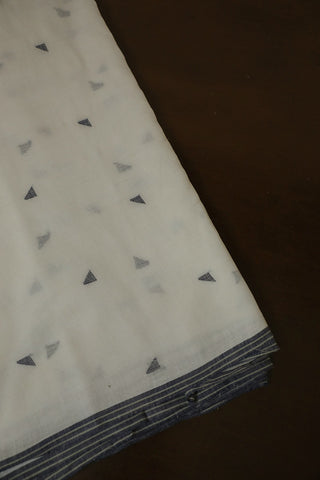 Off White with Greyish Blue Triangles Bengal Jamdani Cotton Fabric