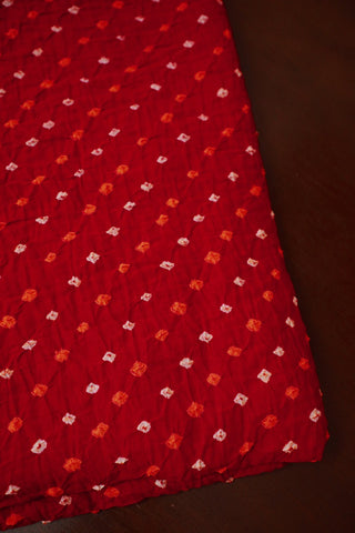 Red with Orange and White Bandhani Fabric