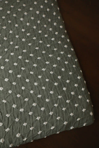 Cement Grey Bandhani Cotton Fabric