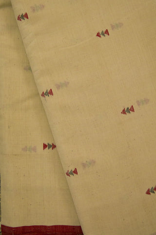 Off White with Triangle Handwoven Khadi Cotton Fabric