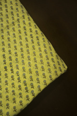 Light Yellow Small Floral Sanganeri Cotton Fabric