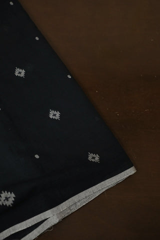 Black with Grey Soft Bengal Jamdani Cotton Fabric