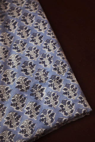 Greyish Blue With Small Floral Block Printed Sanganeri Cotton Fabric