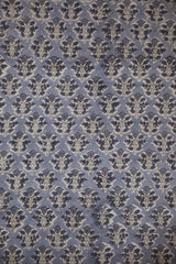 Greyish Blue With Small Floral Block Printed Sanganeri Cotton Fabric-0.7 m