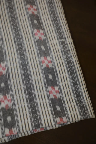Grey with White Orissa Ikat Cotton Fabric