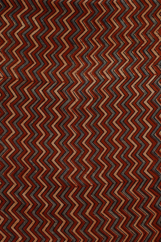 Zig Zags in Maroon and Beige Gajji Silk Ajrak Fabric