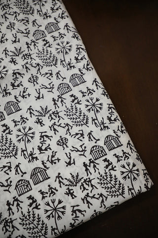 Black Warli Print Sanganeri Cotton Fabric
