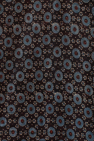 Black with Blue Gajji Silk Ajrak Fabric