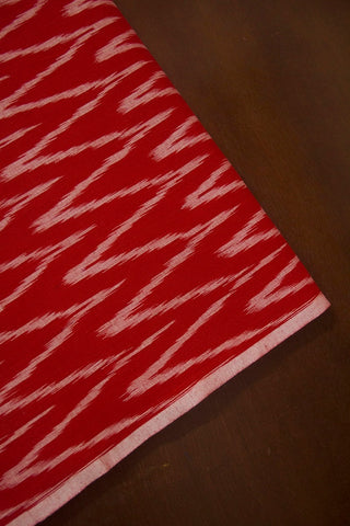 Red Zig Zag Handwoven Ikat Cotton Fabric