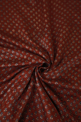 Small Flowers in Maroon Gajji Silk Ajrak Fabric