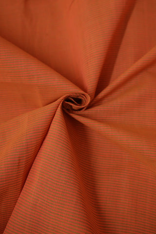 Peach with Green Pin Stripes Mangalagiri Cotton Fabric