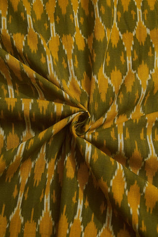 Subdued Yellow with Green Ikat Cotton Fabric