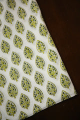 White with Yellow Block Printed Sanganeri Fabric