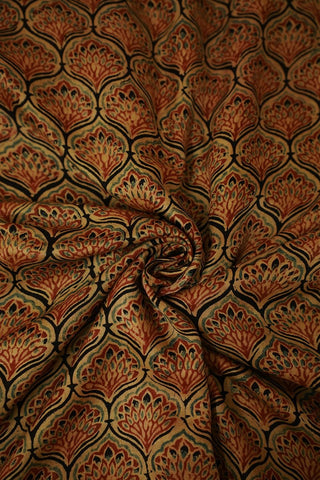 Beige with Rust Red Gajji Silk Ajrak Fabric