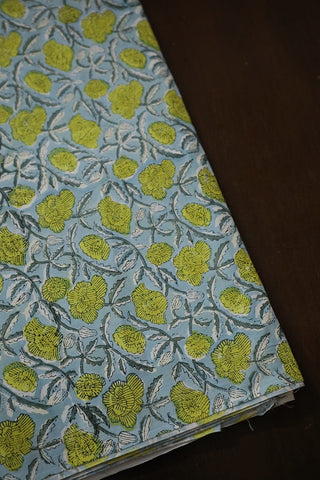 Light Blue Green Floral Sanganeri Cotton Fabric