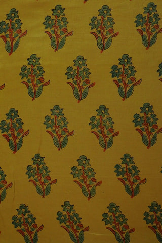 Mild yellow with green Gajji Silk Ajrak Fabric
