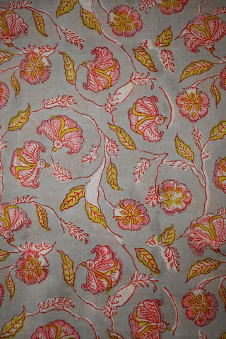 Grey with Pink Floral Sanganeri Cotton Fabric-2.1 m