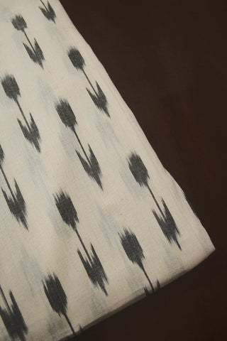 Off White with Grey Arrow Ikat Cotton Fabric