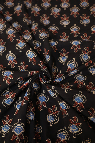Black with Blue Ajrak Block Printed Cotton Fabric