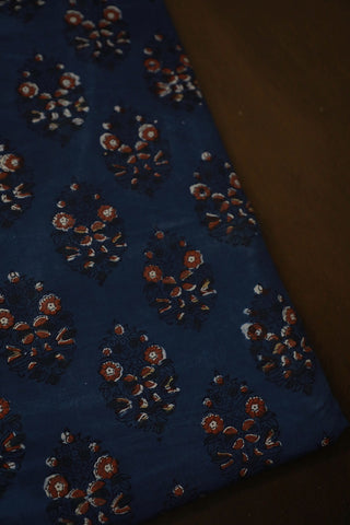Maroon with Dark Blue Block Printed Cotton Fabric