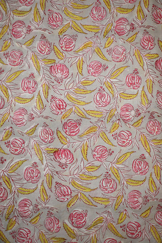 Pink Floral and Yellow Leaf in Grey Sanganeri Cotton Fabric-1.2 m
