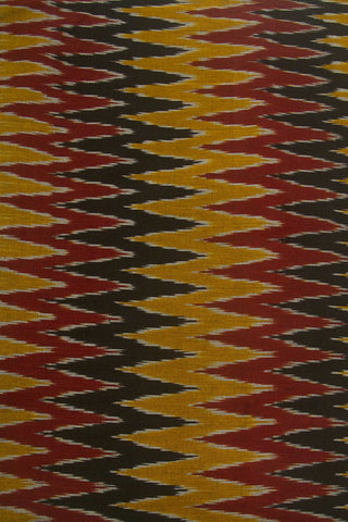 Maroon with Black Zig Zag Ikat Cotton Fabric
