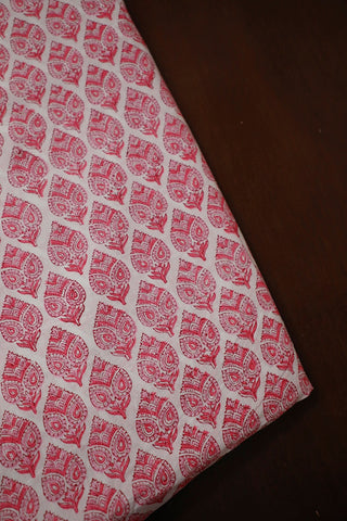 Off White with Pink Block Printed Sanganeri Cotton Fabric
