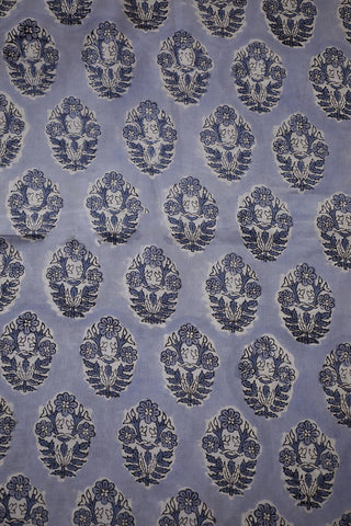 Grey Flower Block Printed Sanganeri Cotton Fabric