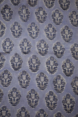 Grey Flower Block Printed Sanganeri Cotton Fabric-1 m