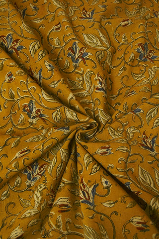 Mustard Yellow Floral Block Printed Kalamkari Fabric